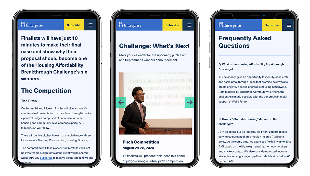 Enterprise about the competition, what's next, and FAQ pages displayed on 3 mobile devices side by side.