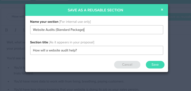 Save as reusable section modal