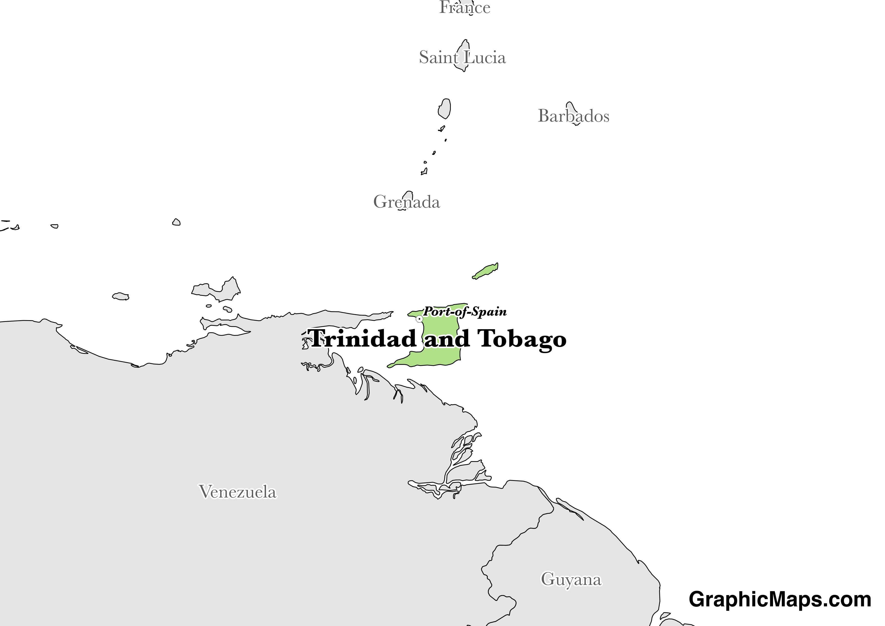 Map showing the location of Trinidad and Tobago