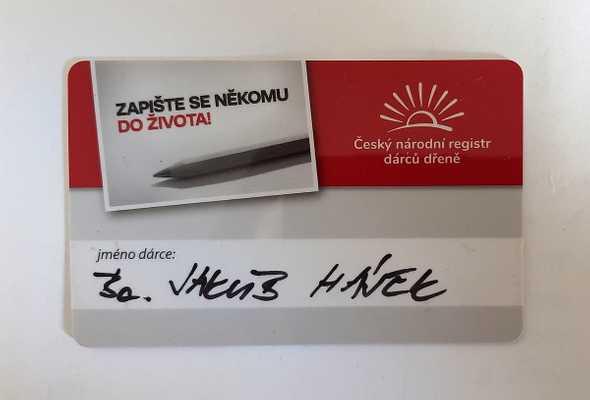 kartička registru