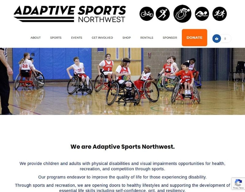 Screenshot of Adaptive Sports NW homepage