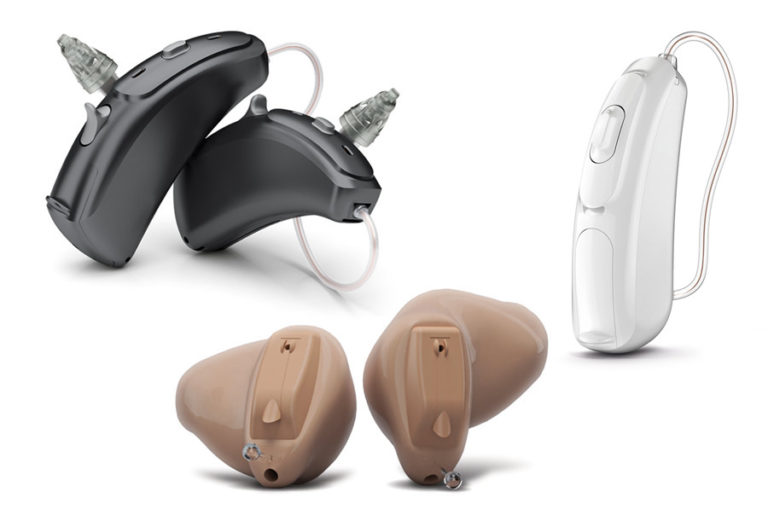 a variety of hearing aids in different styles