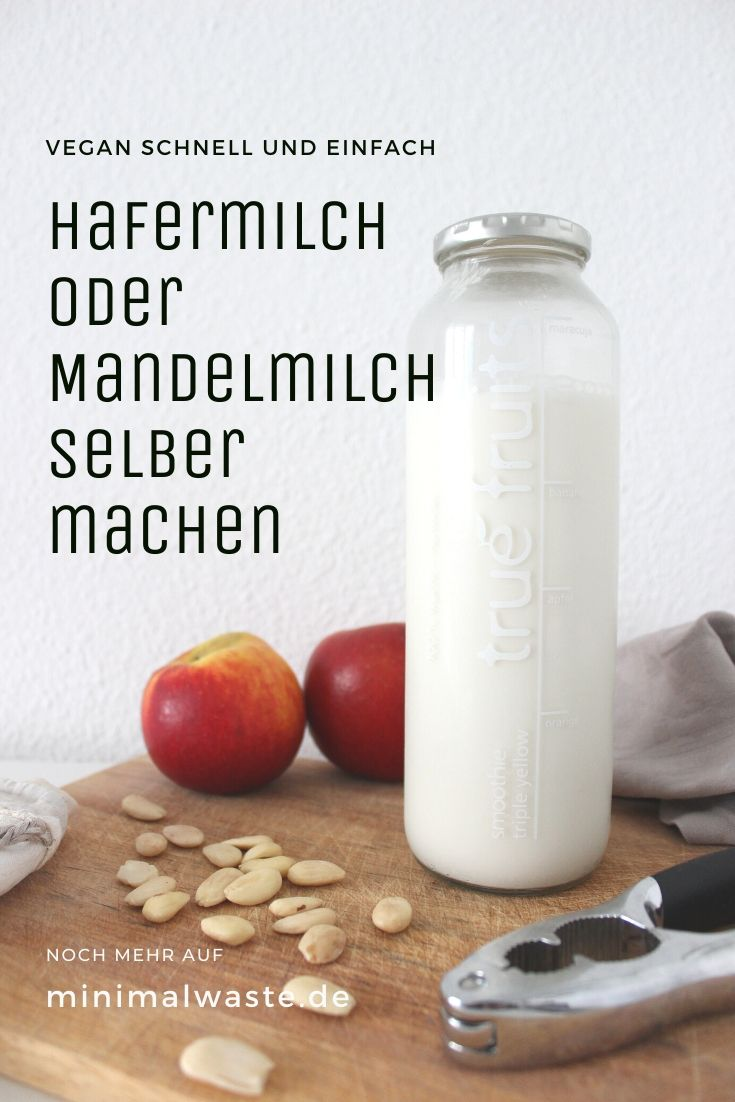 Pinterest Cover zu 'Pflanzliche Milch selber machen: 2 Varianten'