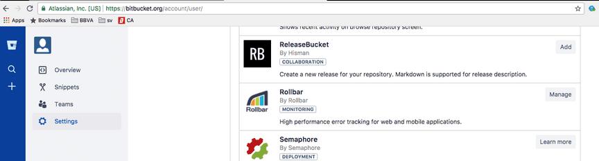 Screenshot of Rollbar integration plugin