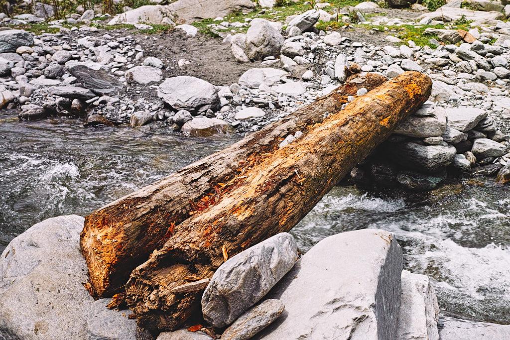 A 'trangri' or a makeshift wooden bridge