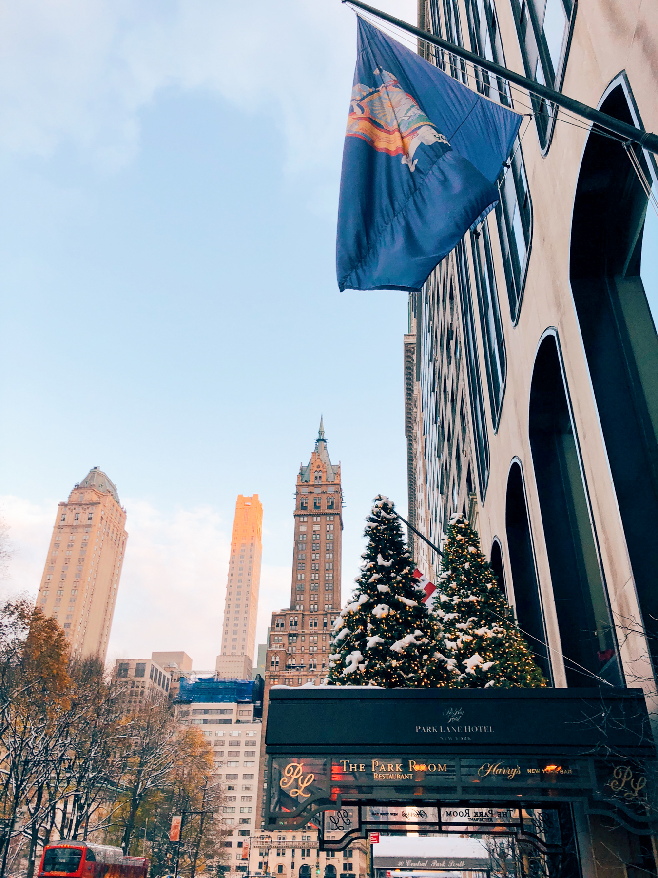 Central Park South hotels decorated for the holidays