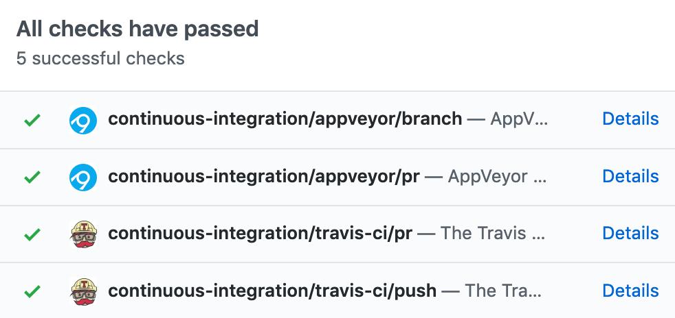 Screenshot of CI tests wired into GitHub