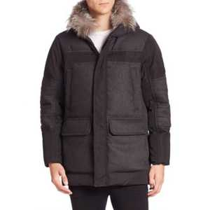 Michael Kors Mens Down Filled Woven Outerwear with Fox Collar