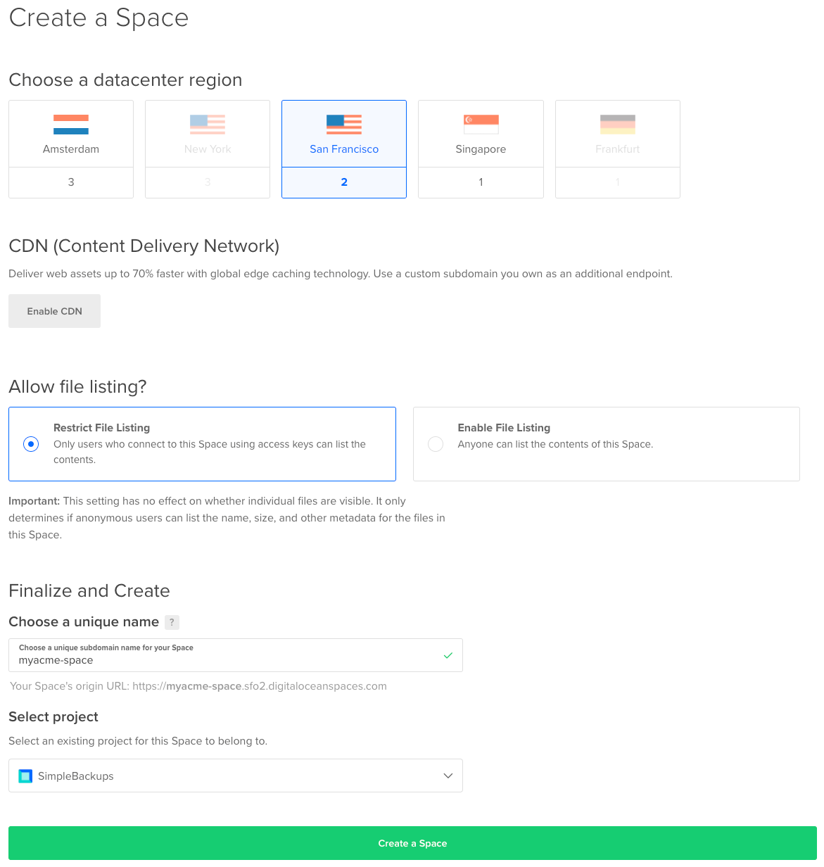 DigitalOcean Spaces creation form, select the region and the name of your storage object