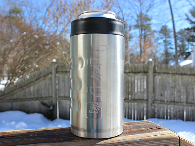 A metal koozie can cooler by Grizzly