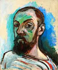 'Self-Portrait in a Striped T-shirt' by Matisse in 1906, Statens Museum for Kunst, Copenhagen, Denmark
