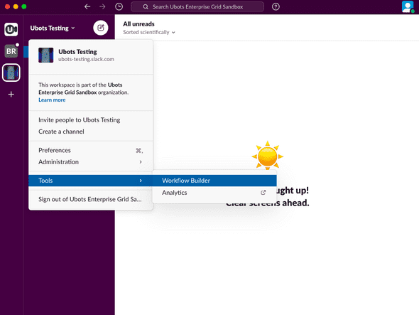 Opening Workflow Builder