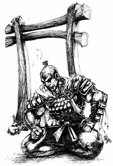 Samurai Meditating Sketch