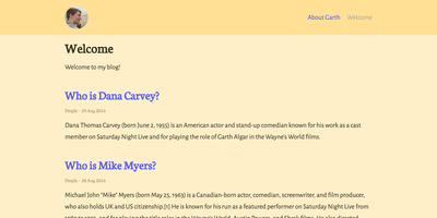 Screenshot of a page created with Jekyll & Garth theme starter