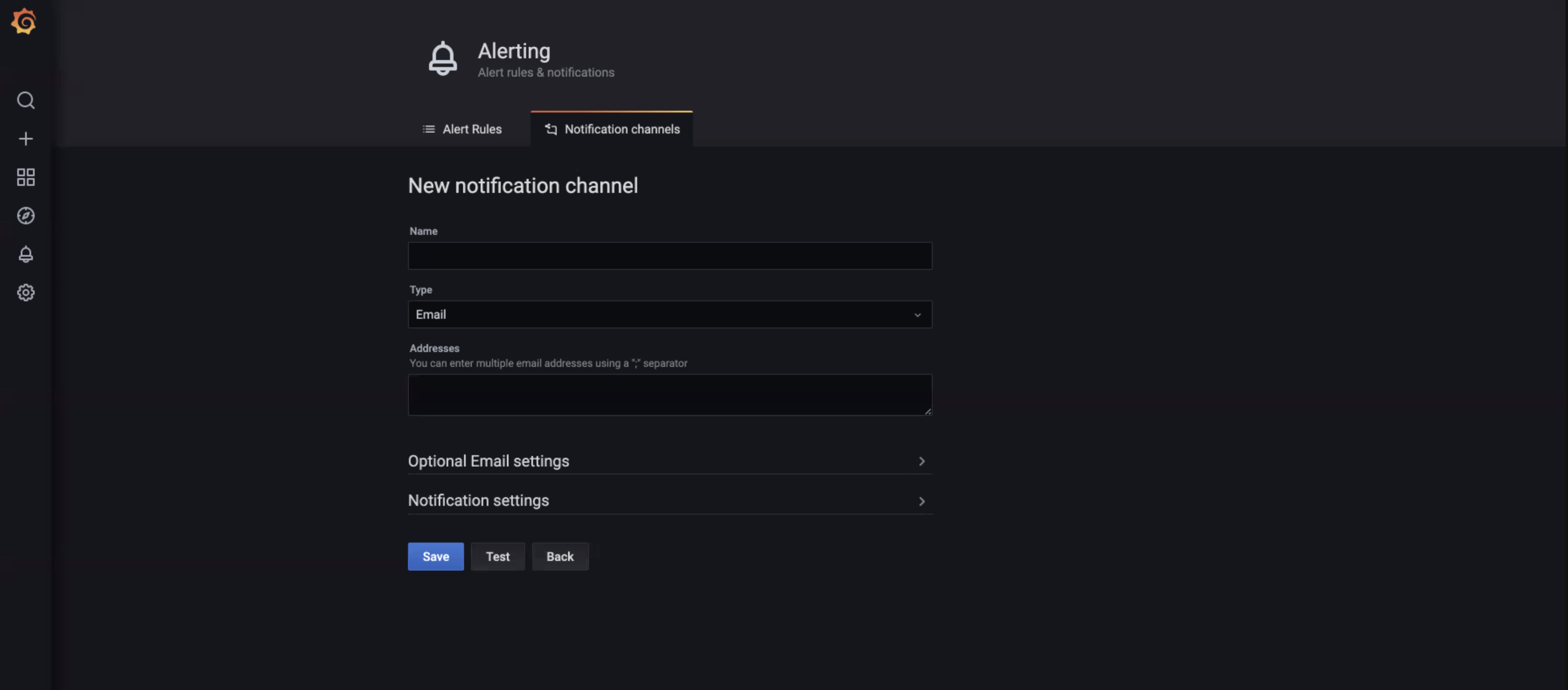 The Notification channel form.