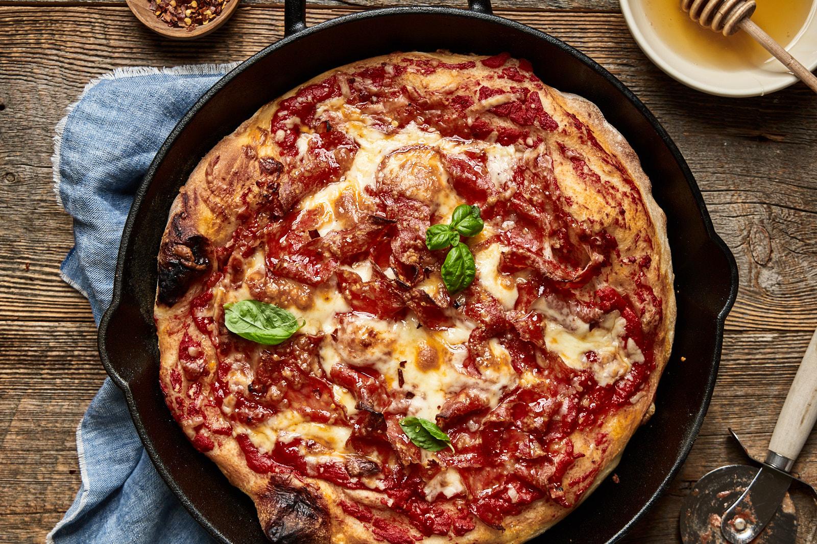 Spicy Honey Soppressata Cast Iron Skillet Pizza