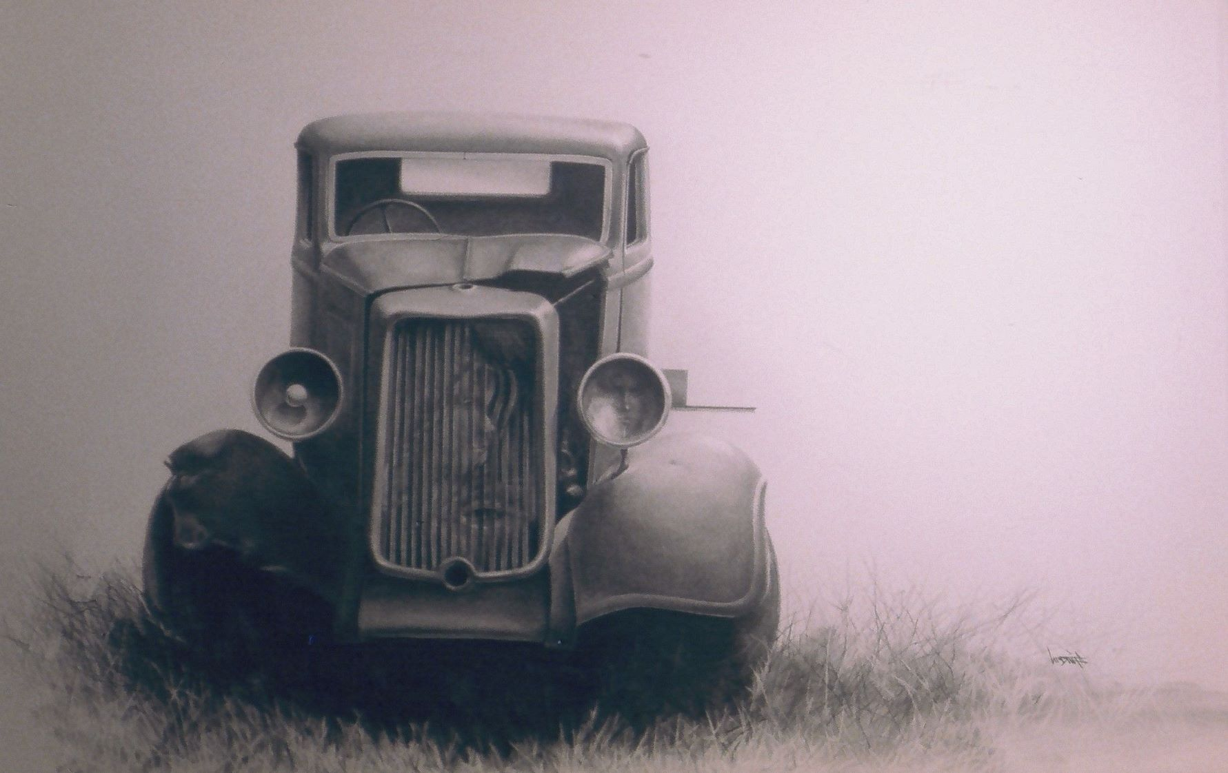 vintage car in lack and white pencil