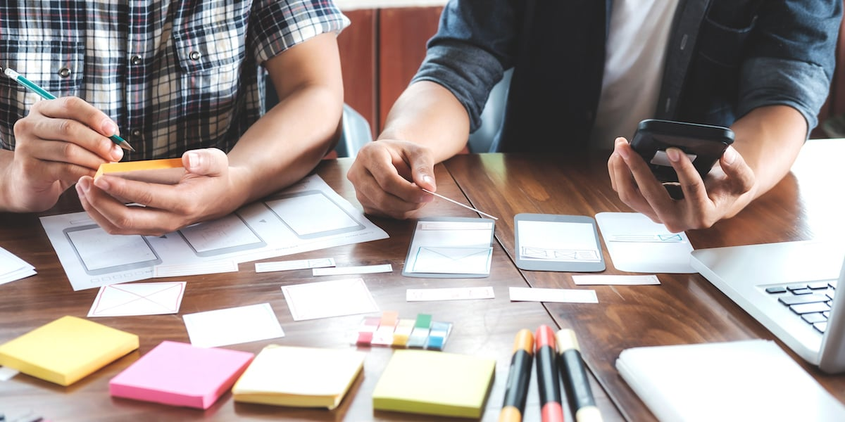 Collaborative wireframing between a UX designer and a product manager