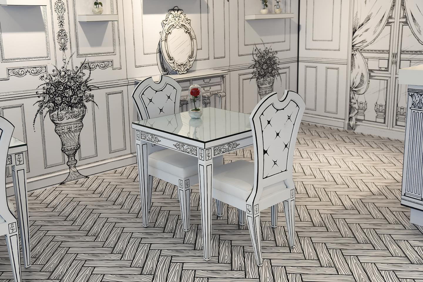 photo of black and white decor of the forever rose cafe in dubai