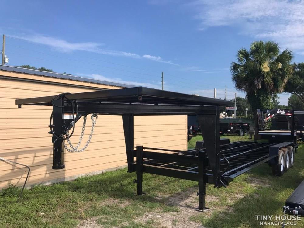 A 26 foot long gooseneck trailer, from the Tiny House Marketplace.