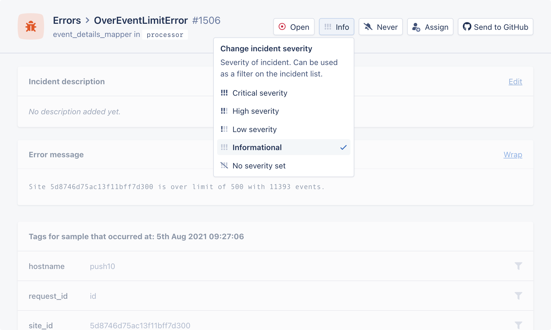 Selecting severity label in exception incident