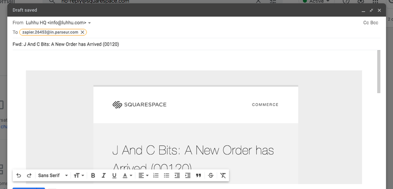 Forward squarespace email to Parseur mailbox