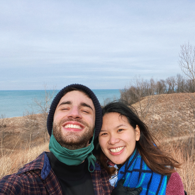 Eugenia and me at the Indiana Dunes in December