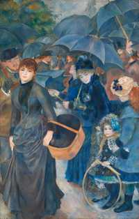 The Umbrellas is an oil-on-canvas painting by Pierre-Auguste Renoir, painted in two phases in the 1880s. The painting is drawing inspiration from classical art he had seen in Italy and the works of Ingres and Cézanne