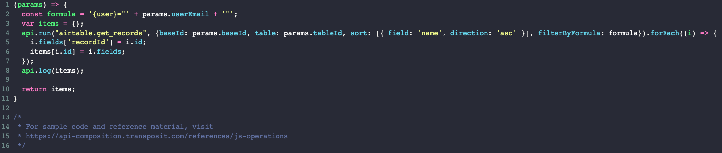 JS operation in Transposit to query Airtable for a user's items