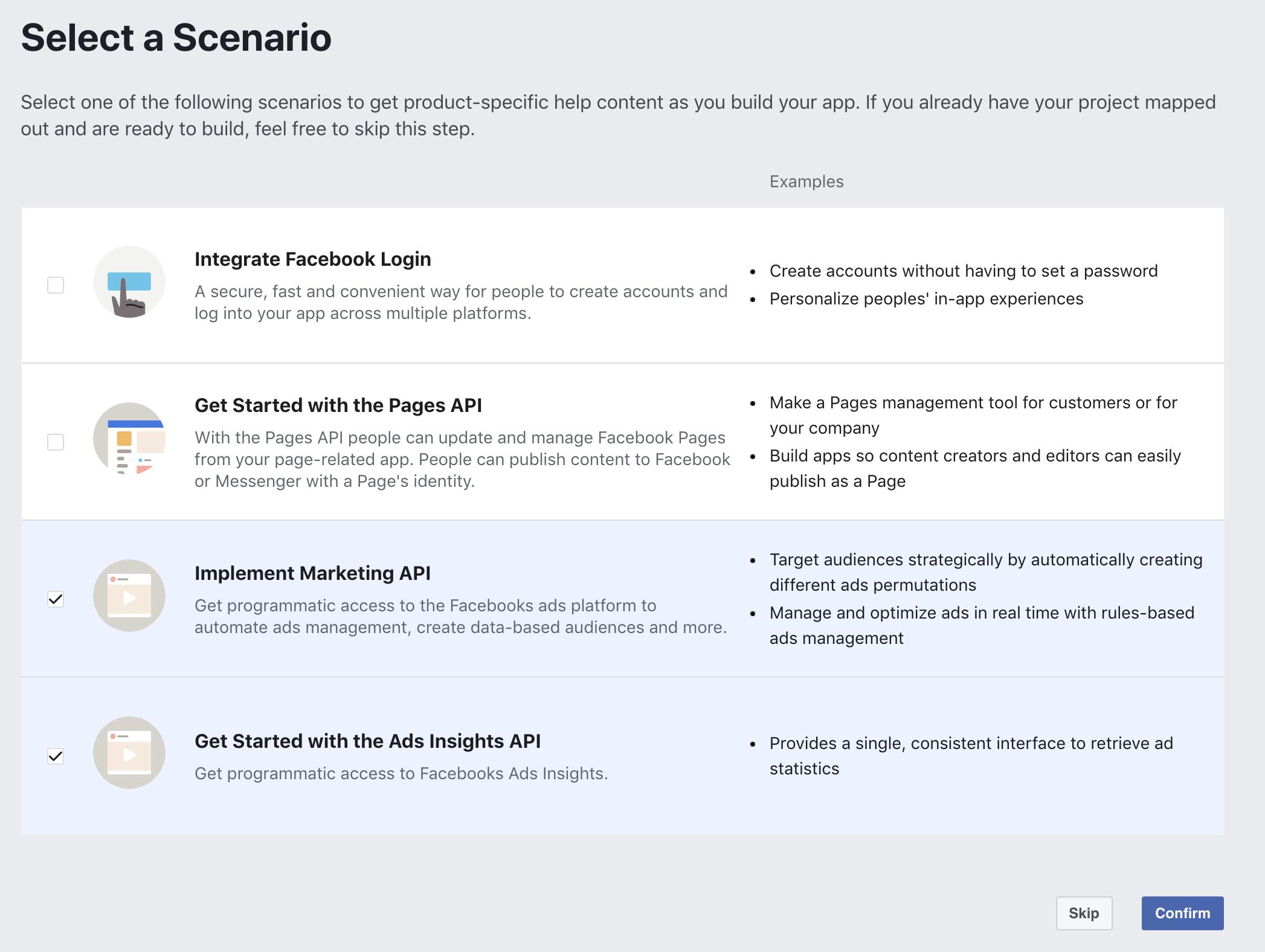 facebook new app scenario interface