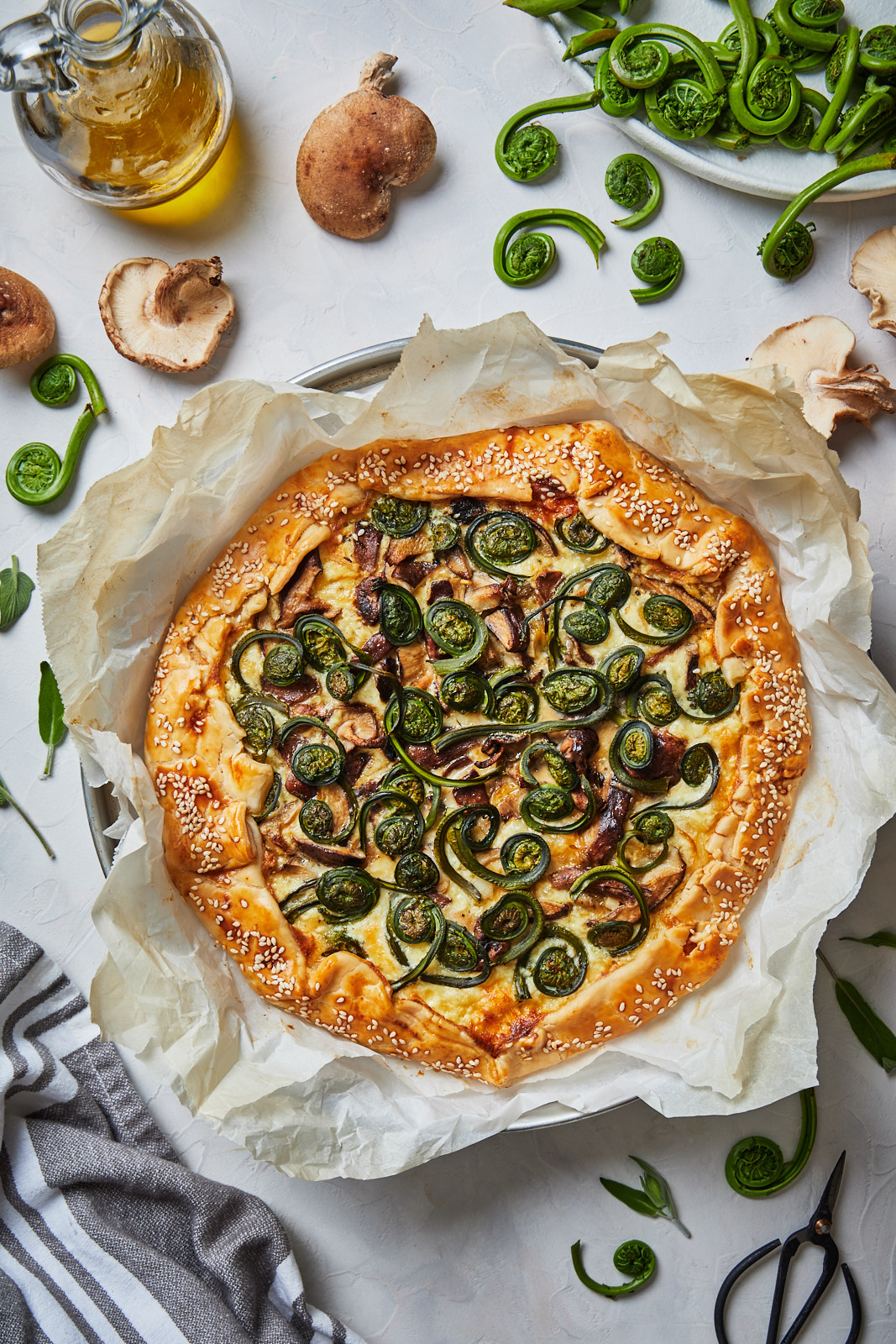 Fiddlehead and Mushroom Galette
