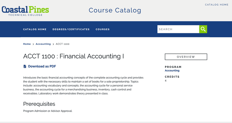 Clean Catalog course listing