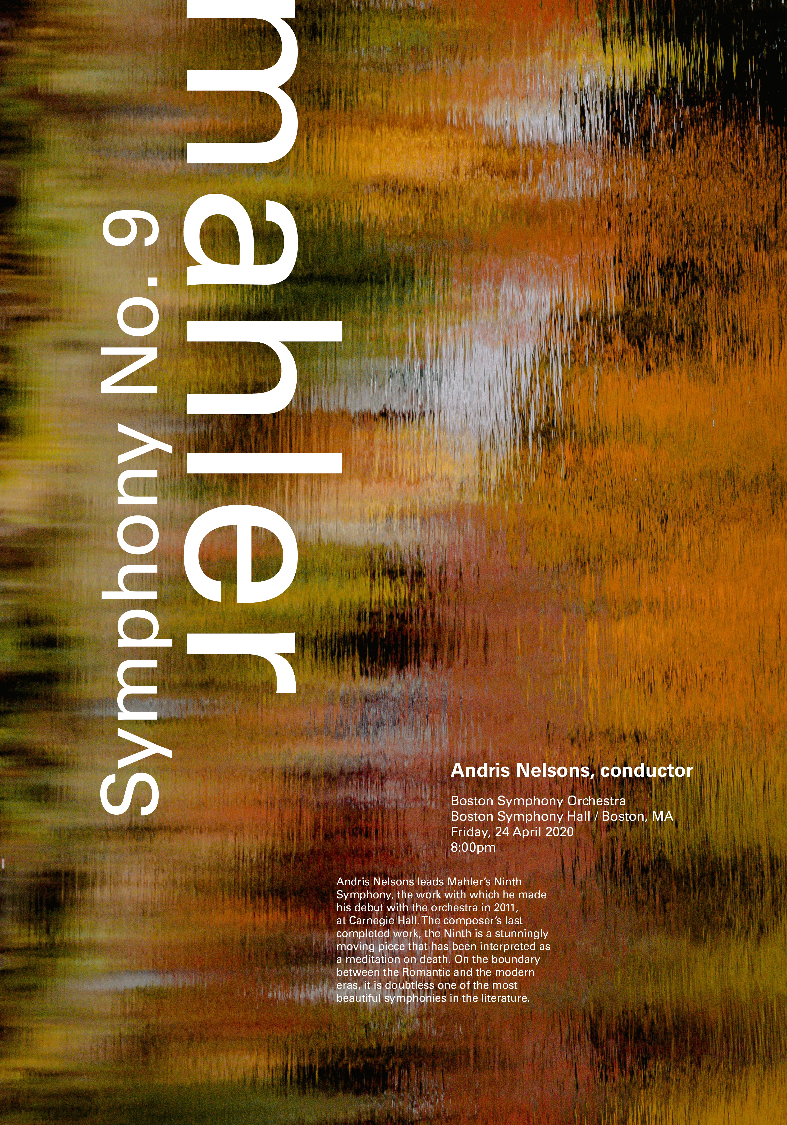 poster with abstract red, orange, and green background,                  with 'Mahler' and 'Symphony no.9' written in large white text, and smaller text describing details of the performance