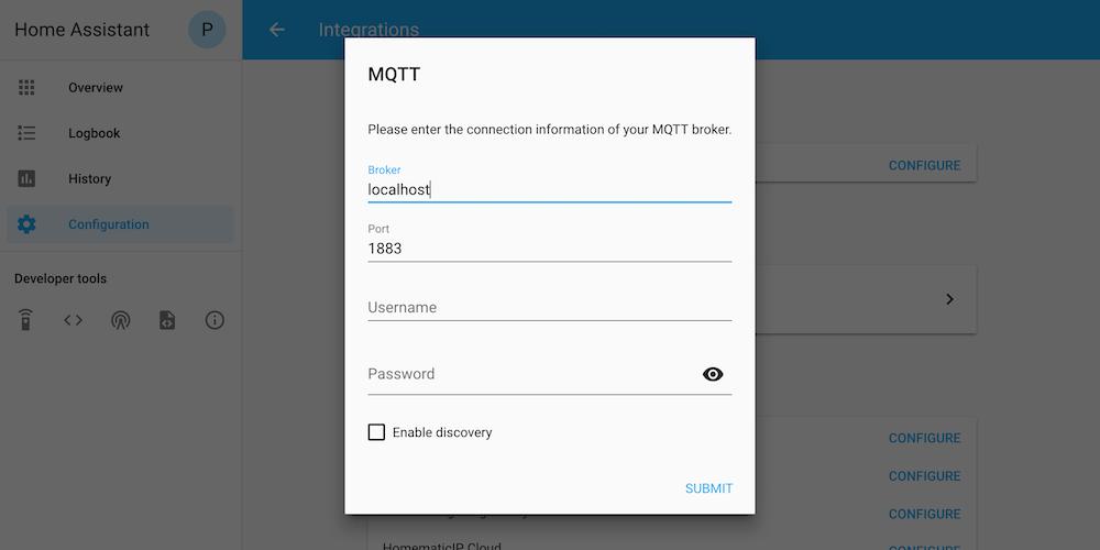 Screenshot showing how to configure MQTT via UI
