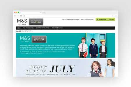 Web design for M&S Your School Uniform
