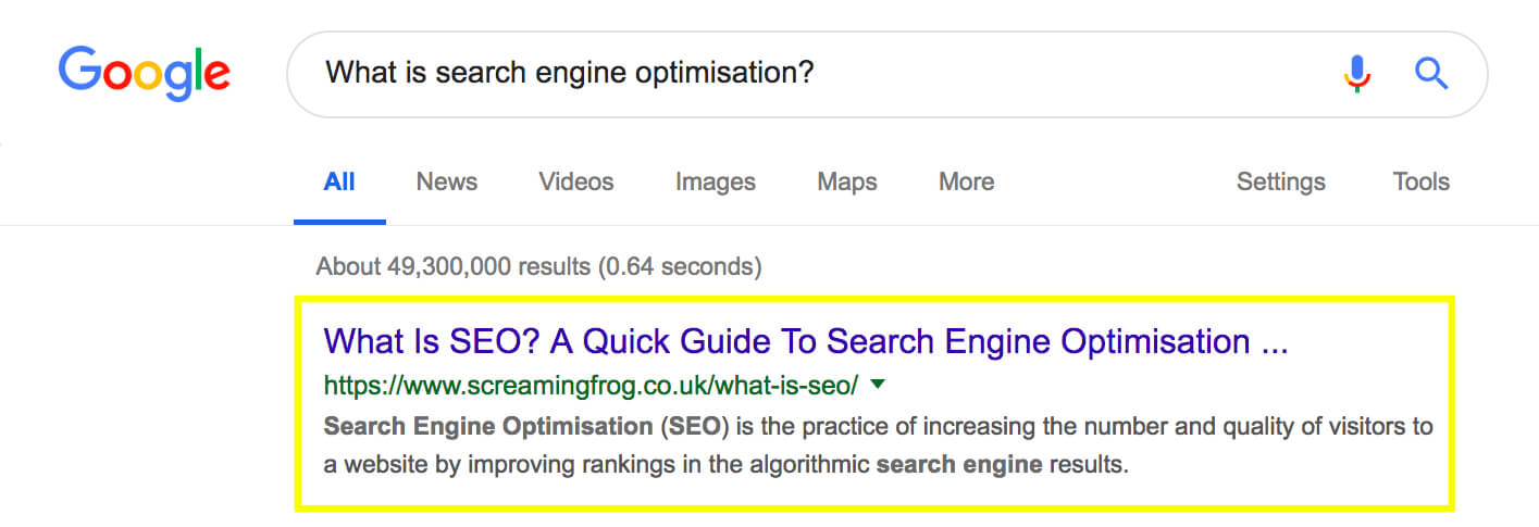 Google search of 'what is seo?'