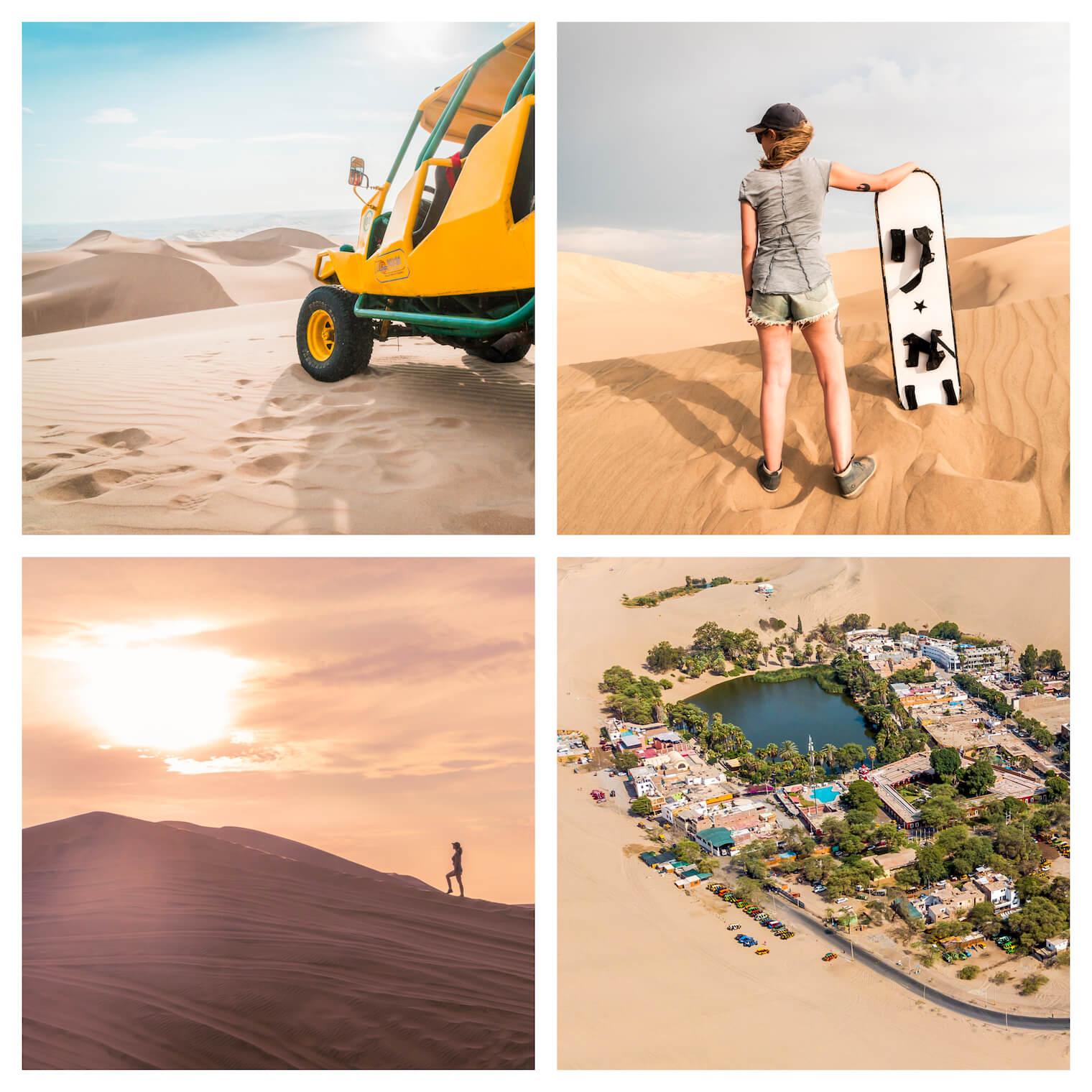 4 fotos: Superior esquerda: um bugre nas dunas. Superior direita: uma garota de costas nas dunas segurando uma prancha de sandboard. Inferior esquerda: um por-do-sol com uma silhueta de uma garota nas dunas. Inferior direita: imagem de um Oasis visto por cima.
