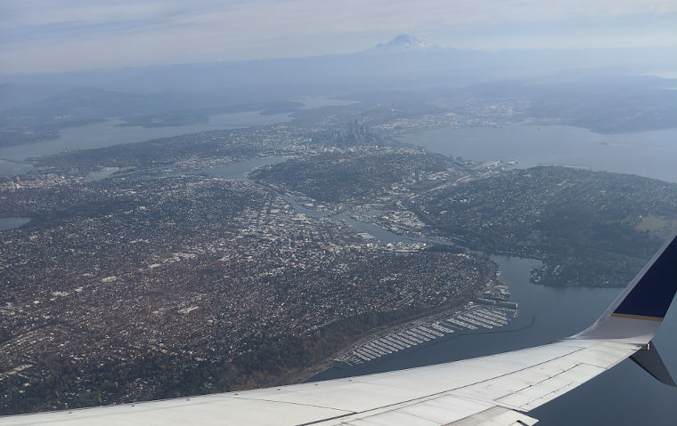 Seattle with Mt Rainier in the background