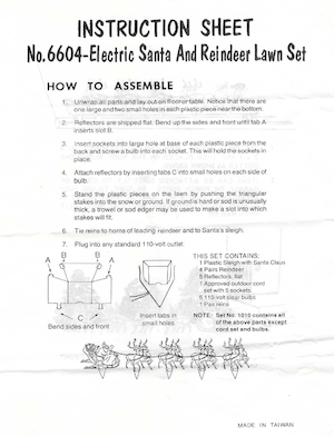 Unknown Manufacturer Electric Santa And Reindeer Lawn Set #6604 Instruction Manual.pdf preview