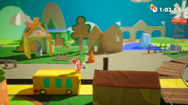 A screenshot from Yoshi's Crafted World, showing that the entire world is made of recycled household items