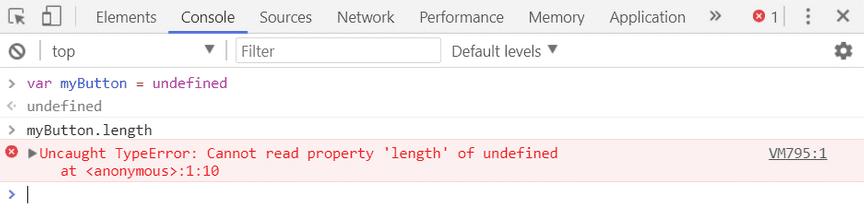 Screenshot of TypeError: Cannot read property 'length'