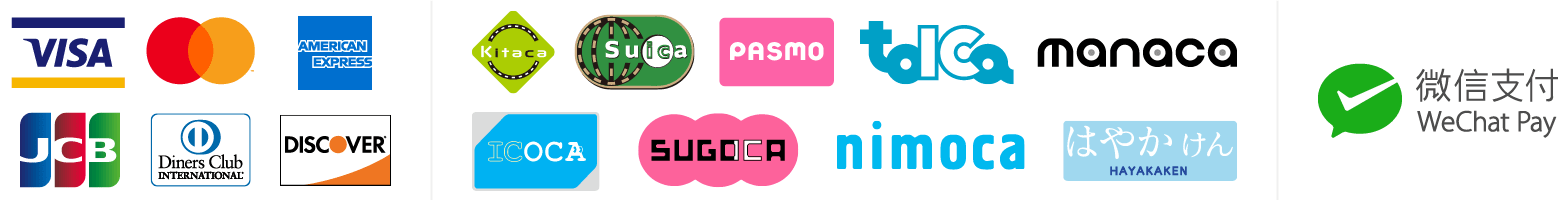 Visa, Mastercard, American Express, JCB, Diners Club, Discover / Kitaca, Suica, PASMO, TOICA, manaca (マナカ), ICOCA, SUGOCA, nimoca, はやかけん / WeChat Pay