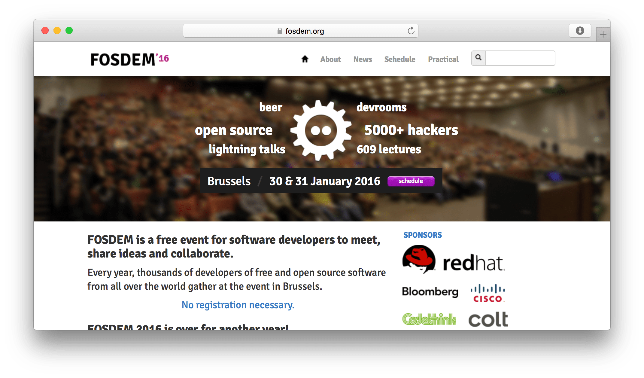 FOSDEM website screenshot