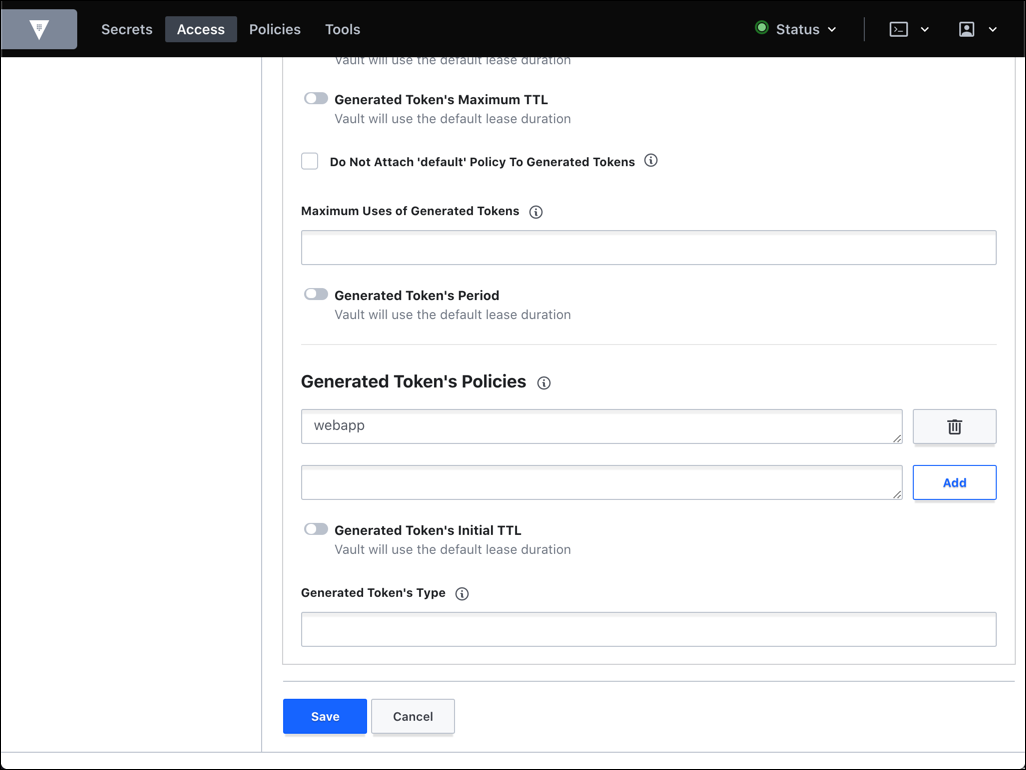 policy added to token