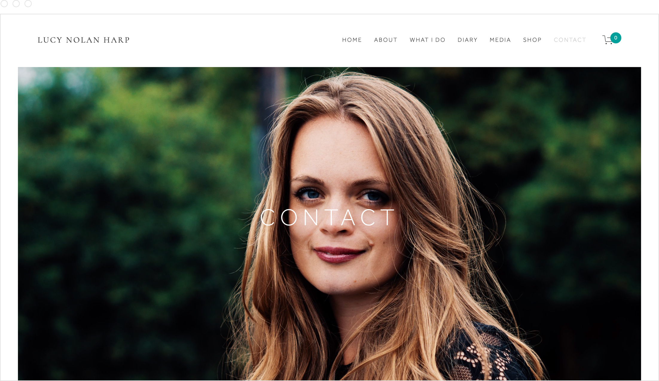 Simple, modern, clear, bright website design by Jack Watkins for award-winning classical musician and harpist, Lucy Nolan