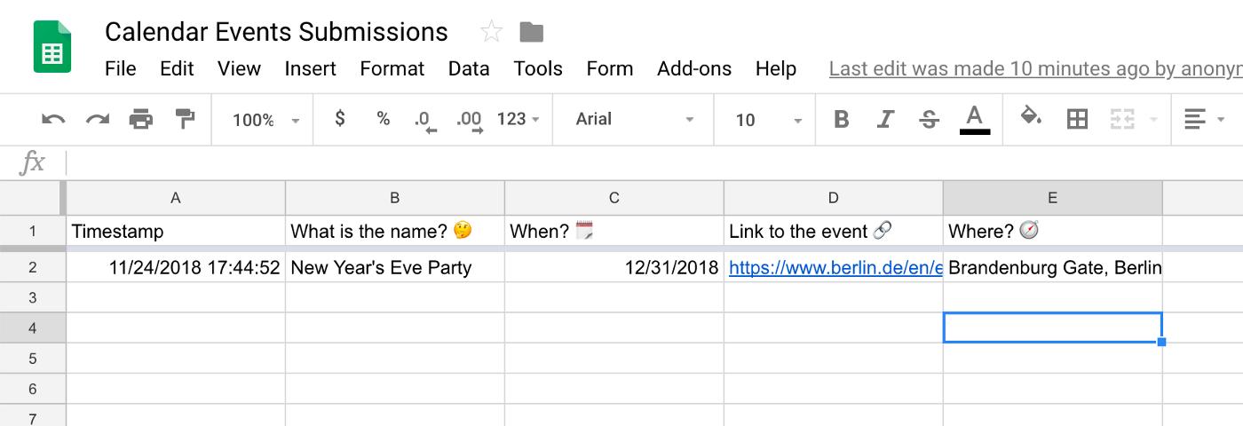 Auto-generated spreadsheet