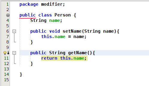 Add a modifier to the class person