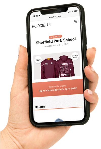An example of a school's leavers hoodie online shop, displayed on a mobile device