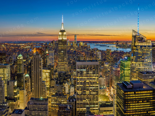 New York City Skyline Virtual Background for Zoom at dusk with bright lights in buildings