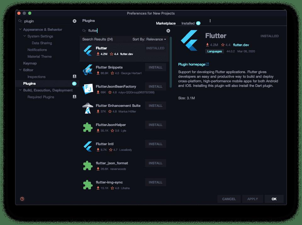 flutter android studio install